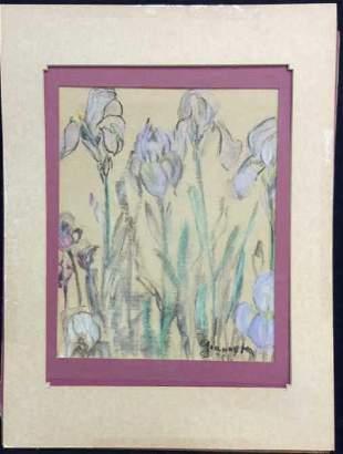 Signed Iris Floral Pastel Illustration Artwork