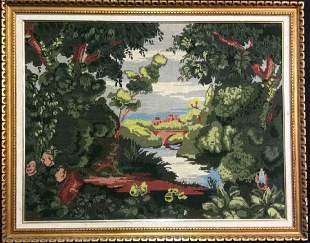 Framed Scenic Landscape Tapestry