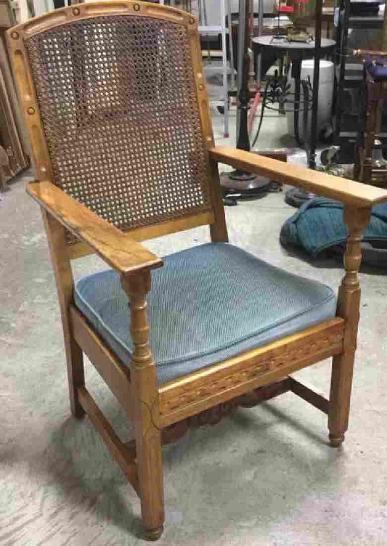 Wooden Caned Backed ArmChair W Upholstered Cushion