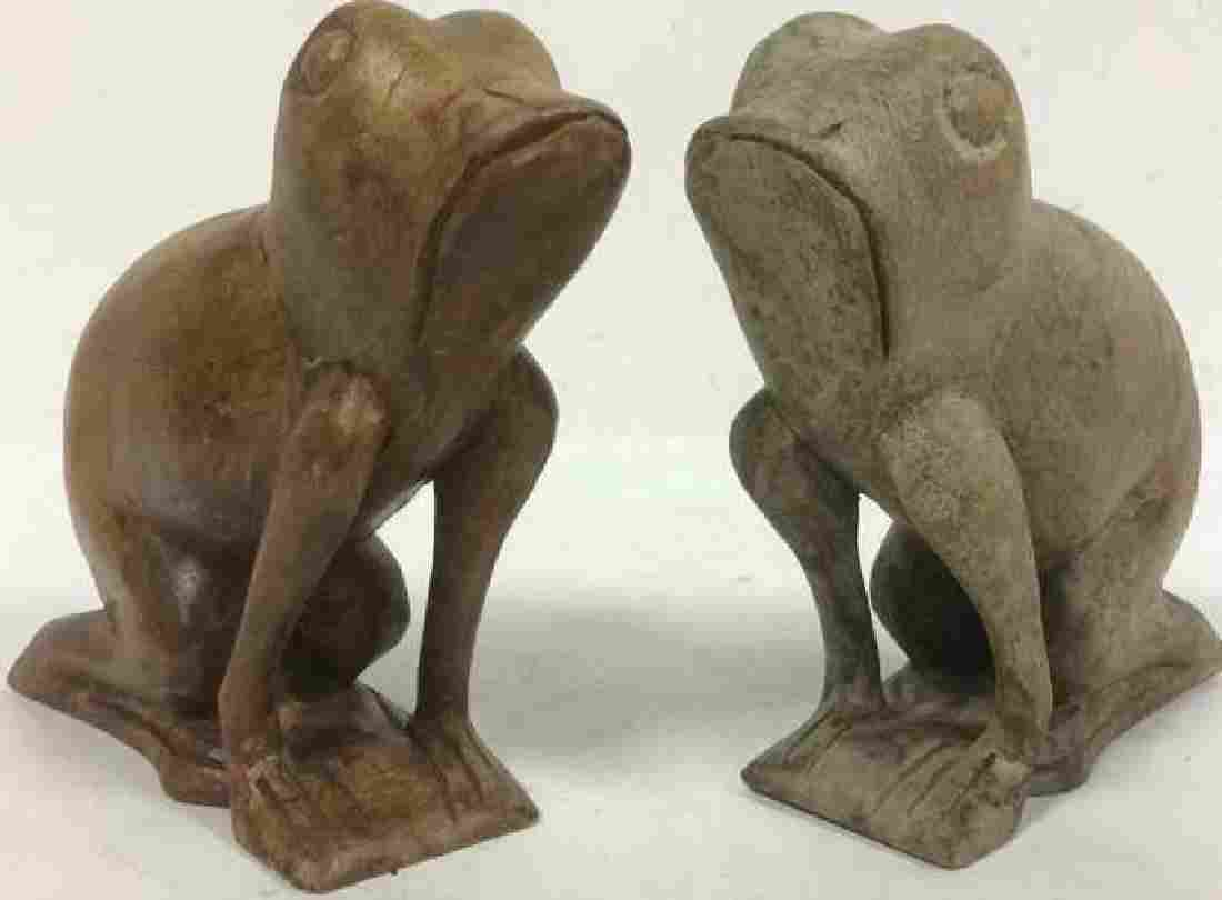 Lot 2 Painted Carved Wooden Frogs