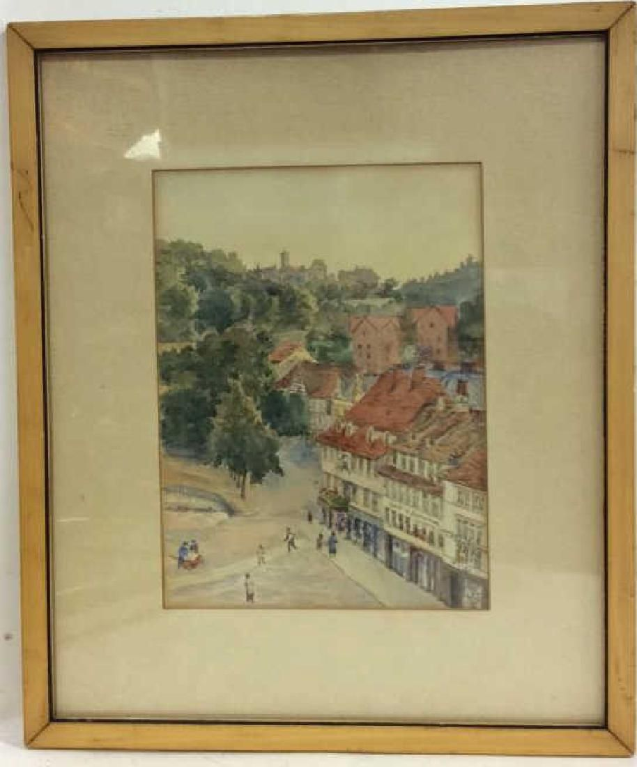 Framed Watercolor Painting German Town