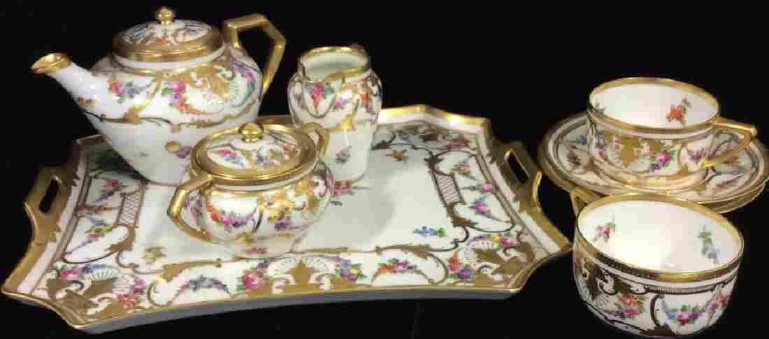 Signed Set 8 Gold Painted Floral Porcelain Set