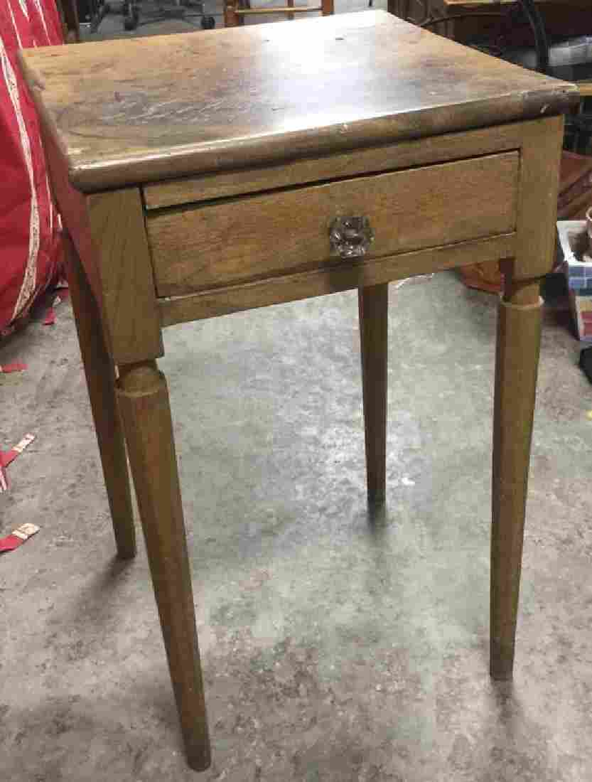 Antique Wooden Side Table With Drawer