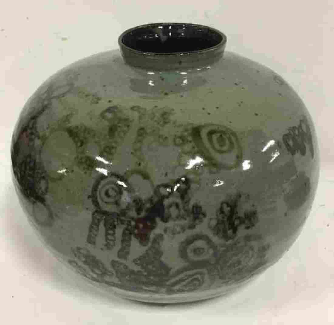 Ceramic Crown Pottery Vase W Abstract Design