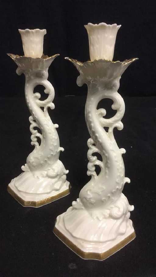 Pair Of Lenox Dolphin Figural Candlesticks