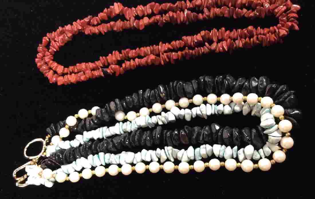 Lot 2 Natural Stone Beaded Vintage Necklaces
