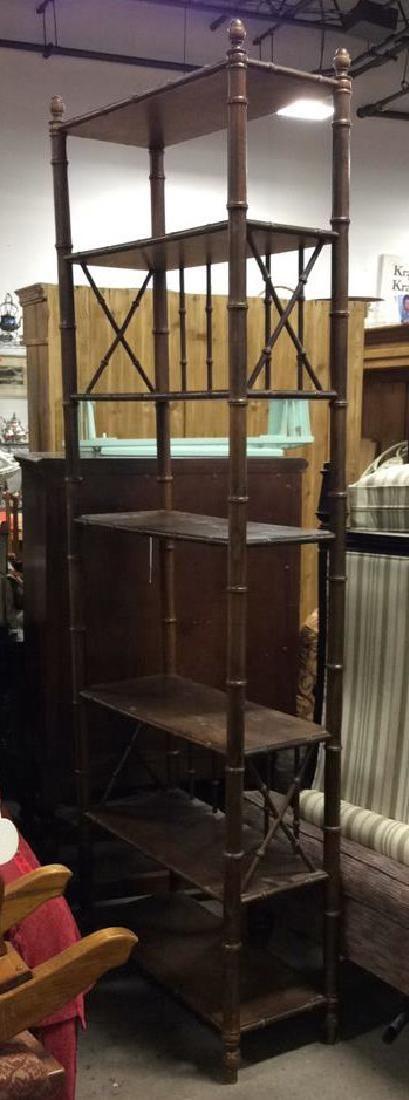 Dark Toned Wooden Display Shelves