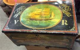 Antique Painted Wooden Nautical Inspired Chest