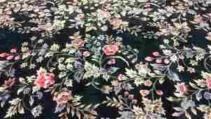 Green Toned Handmade Floral Detail Fringed Carpet