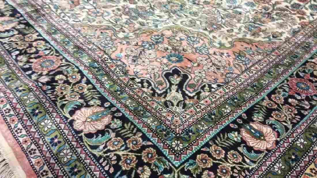 Pink Handmade Fringed Silk Floral Detailed Rug