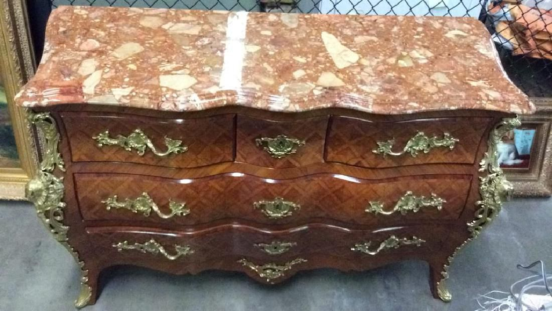 Louis XV Style Marble Topped Bombe Commode