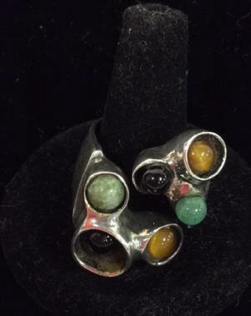 Israeli Midcentury Modern Brutalist Sterling Ring