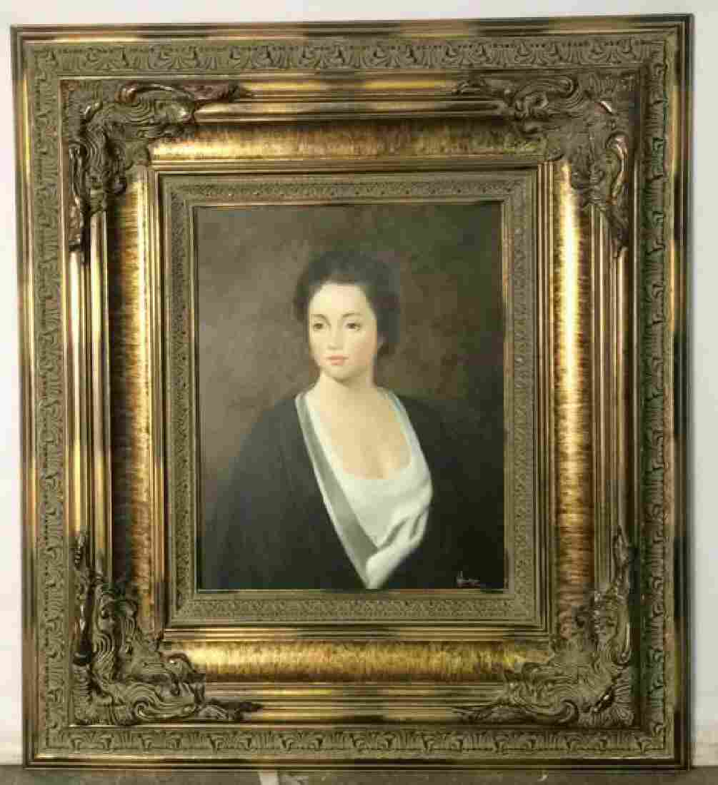 Ornately Framed Oil Portrait of a Woman