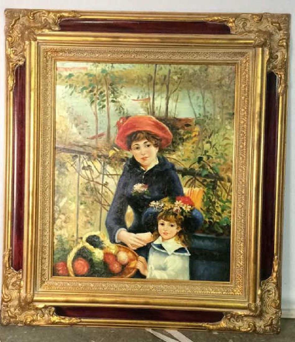 Ornately Framed Unsigned Renoir Oil Reproduction