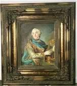 Framed oil Painting Portrait of Man W Harp