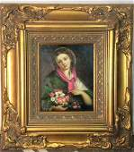 Signed Framed OilPainting Portrait Woman W Flowers