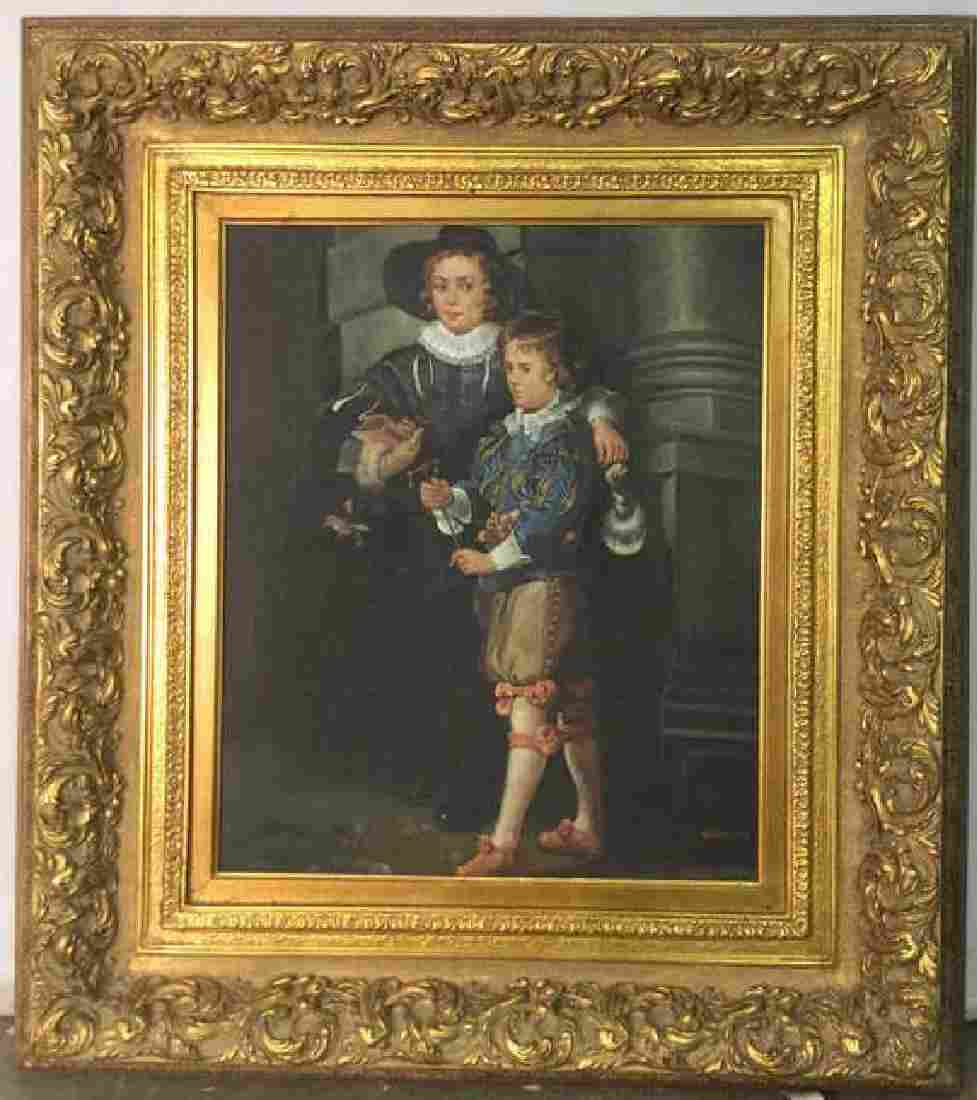 Signed Framed Painting Two Boys W Bird