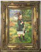 Framed Repro Oil PaintinStudy Young Girl W Parasol