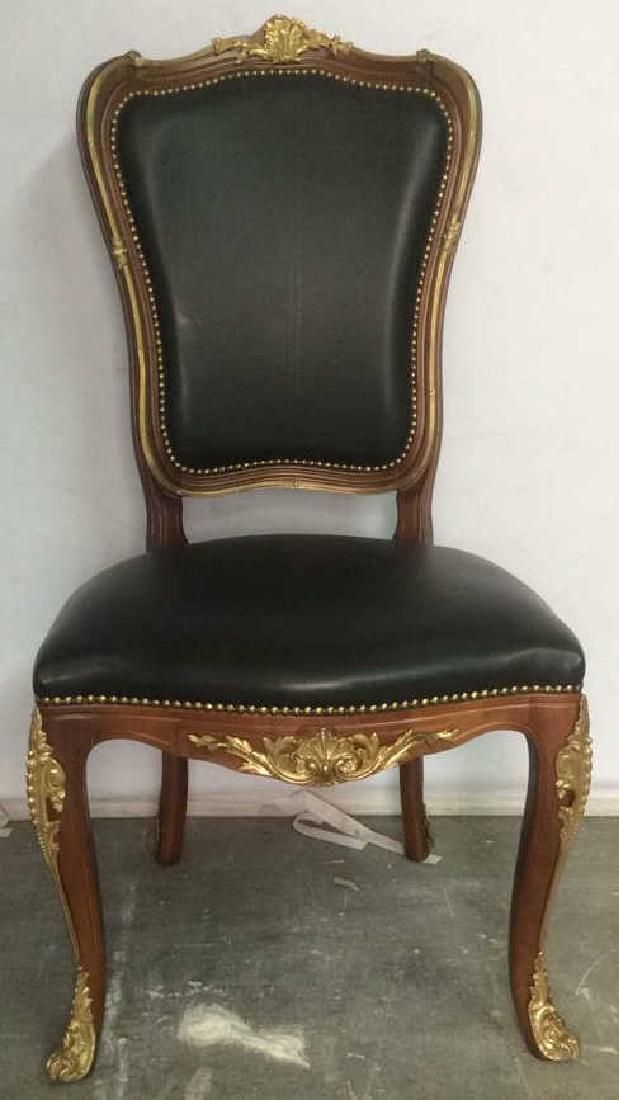 Vintage Wood Frame Leather Cushioned Chair