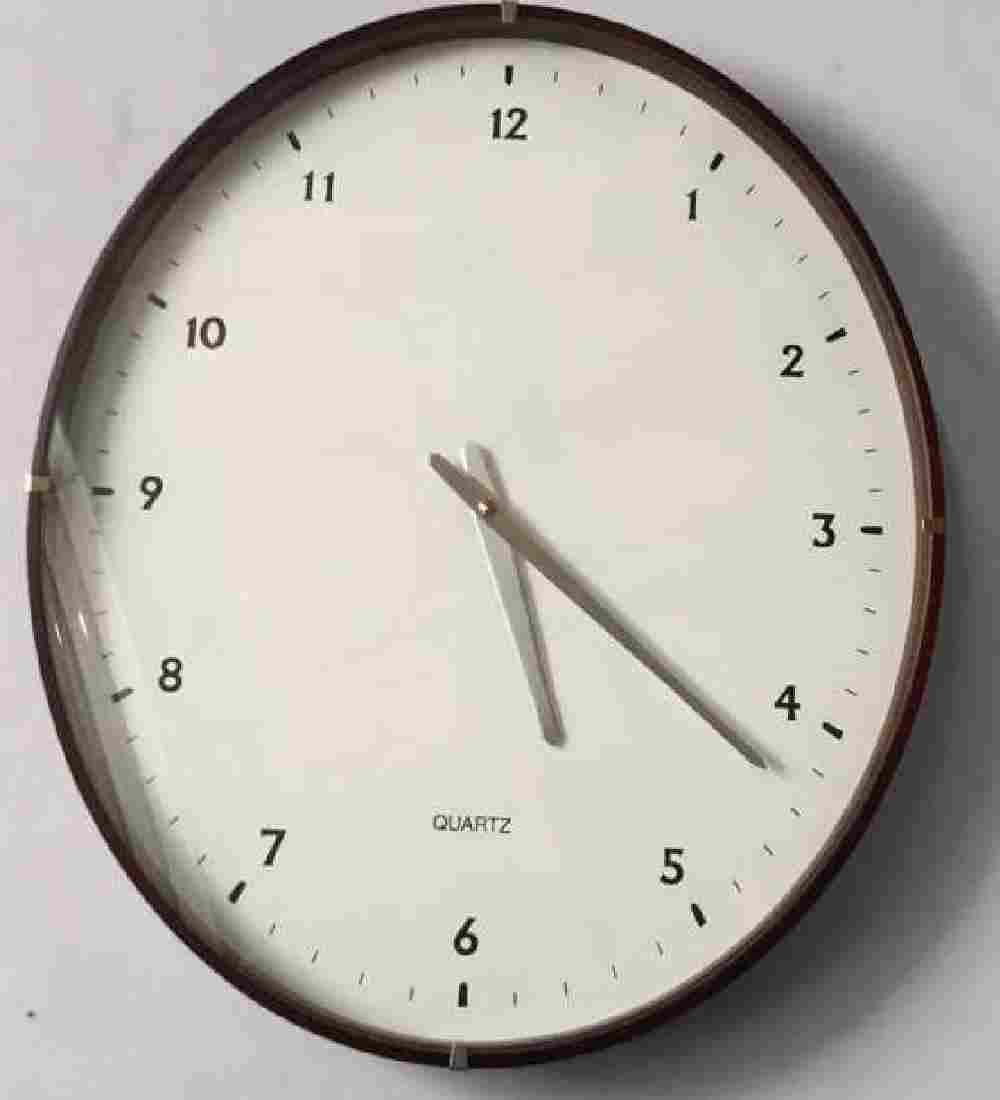 Modern Wall Clock W Dark Wood and Silver Tones