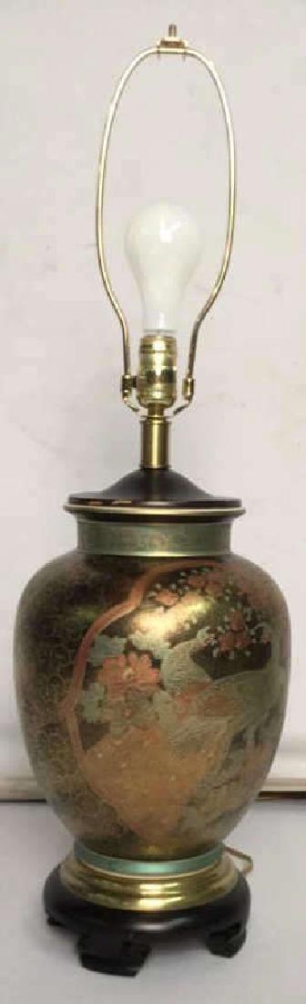 Oriental Painted Ceramic Lamp W Peacock Motif