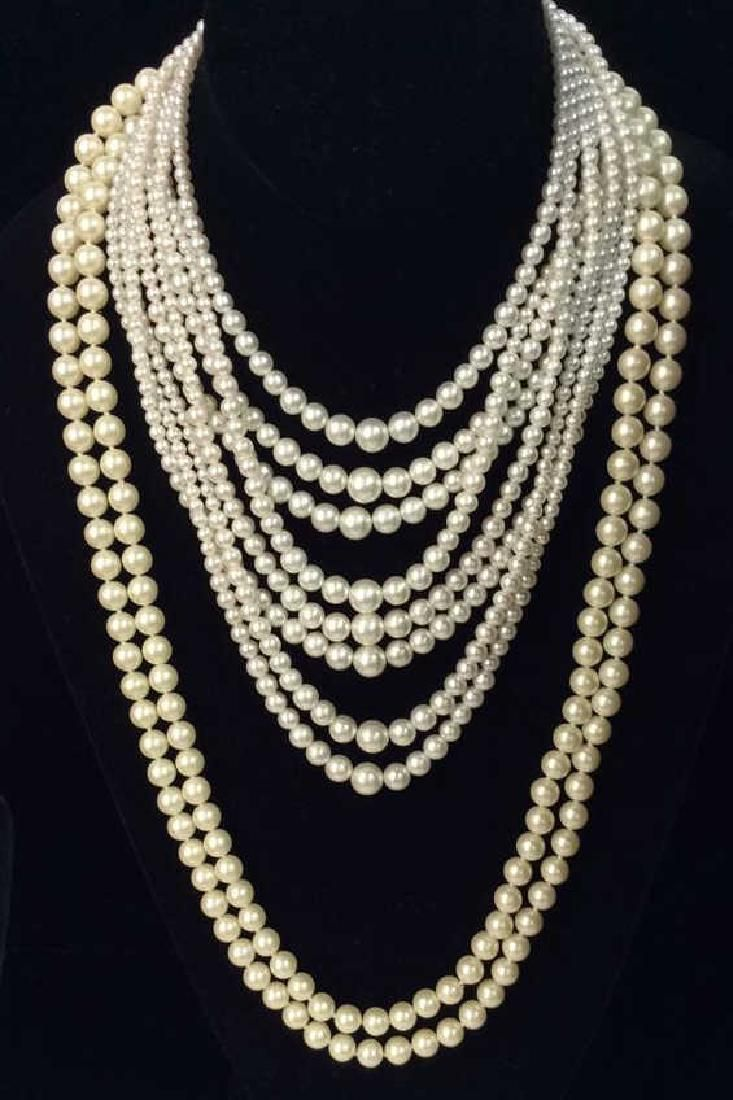Lot 2 Multi Stranded Faux Pearl Necklaces