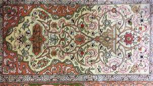 Hand Made Asian Silk Area Rug With Fringe