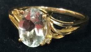 Oval Cut Aquamarine 14kt Gold Ring