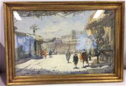 Signed Watercolor Painting Street Scene