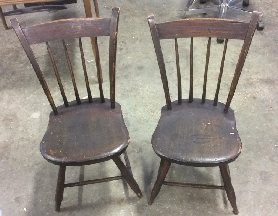 Antique Wooden Chairs >> Pair Of Antique Wooden Chairs With Spindled Back