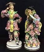 Pair LIANI Painted Porcelain Oriental Figures