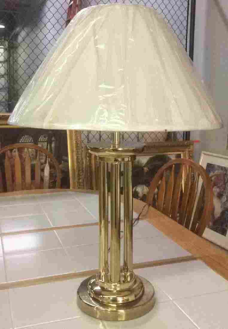 Brass Colored Metal Table Lamp With Fabric Shade