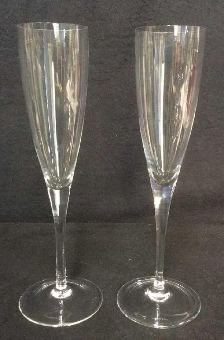 Pair Of Tiffany & Co Crystal Champagne Glasses