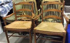 Pair Wooden Basket Woven Seat Chairs