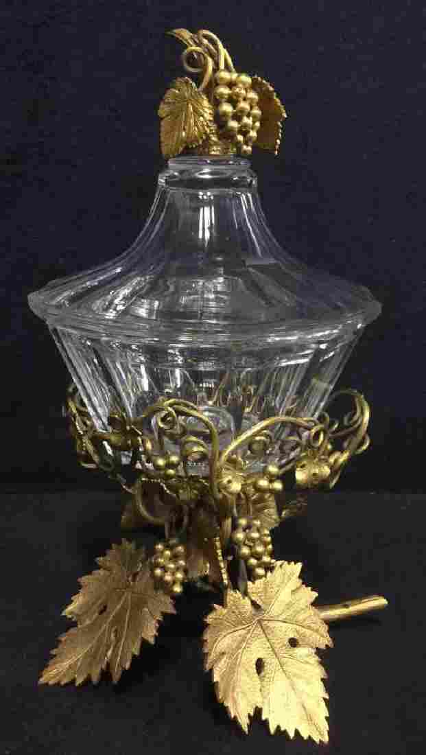 Antique Crystal Lidded Dish With Gilded Bronze