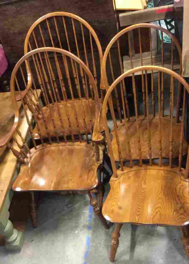 Lot 4 L HITCHCOCK Carved Wooden Bow Back Chairs