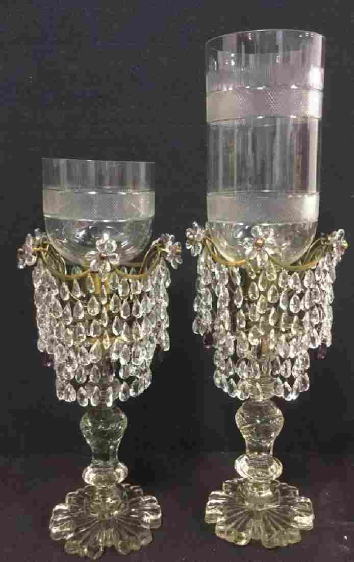 Pair Vintage Crystal Glass  Brass Candle Girandole