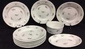 Set 10 Vintage Apilco Porcelain Dishes