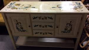 Yellow Toned Hand Painted Sideboard