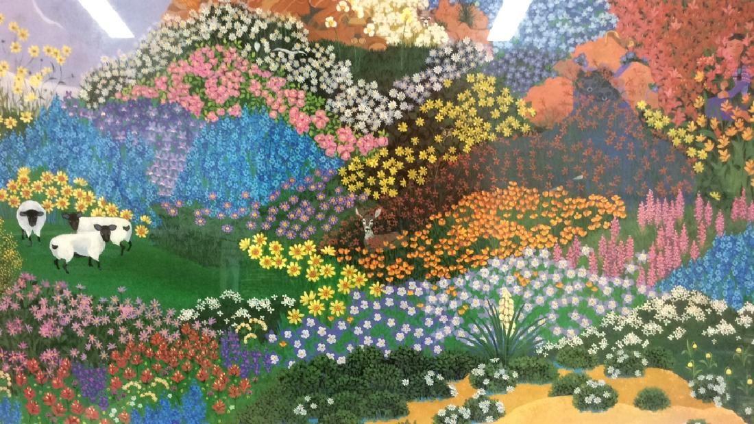 Framed Art Print Floral Landscape W Animals