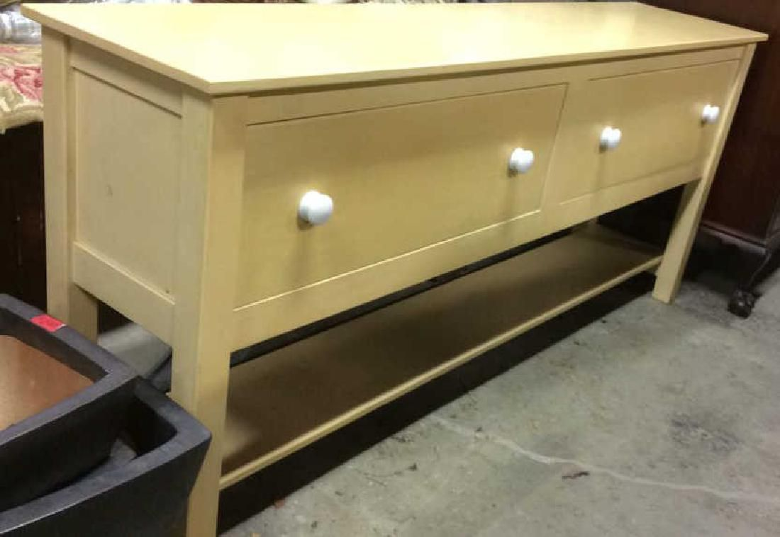 2 Drawer Yellow Toned Wooden Sideboard