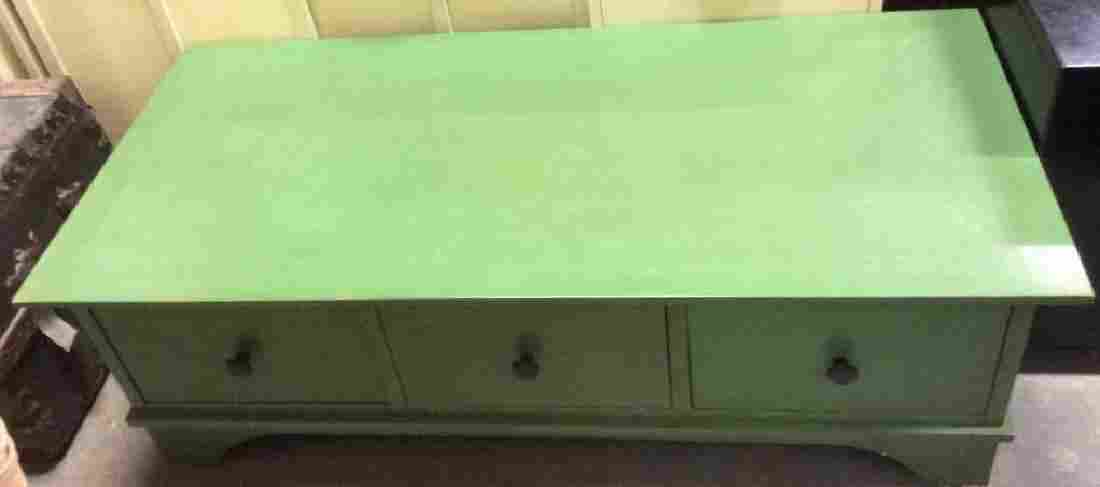 Green Toned 3 Drawer Wooden Coffee Table