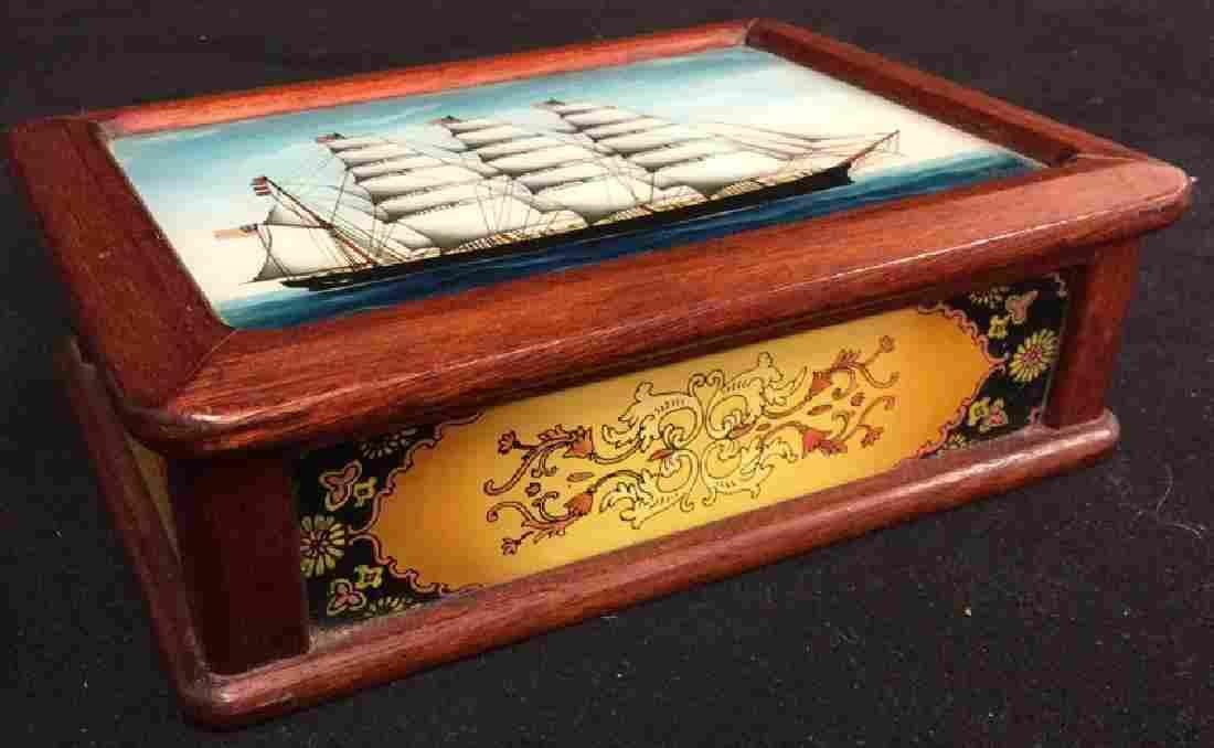 Reverse Painting Glass Wood Ship Jewelry Box