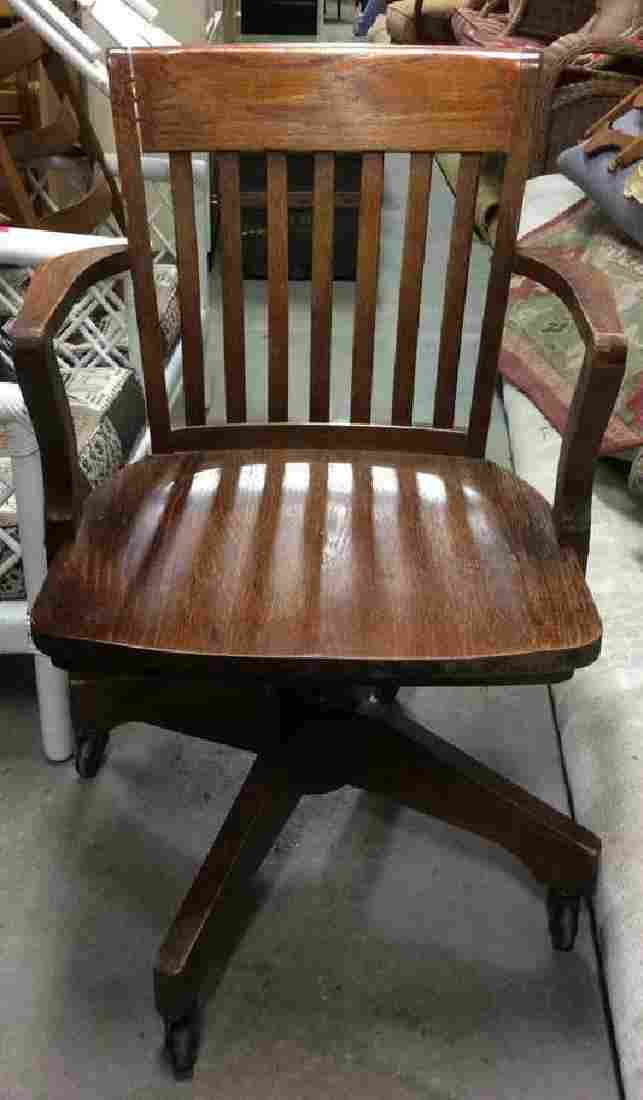 Vintage Wooden Rolling Arm Chair