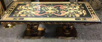 Stone Top Table W Carved Gilded Wood Base