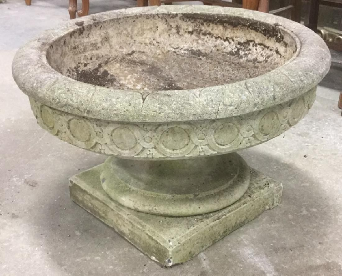 Pair Of Stone Cement Pedestal Planters