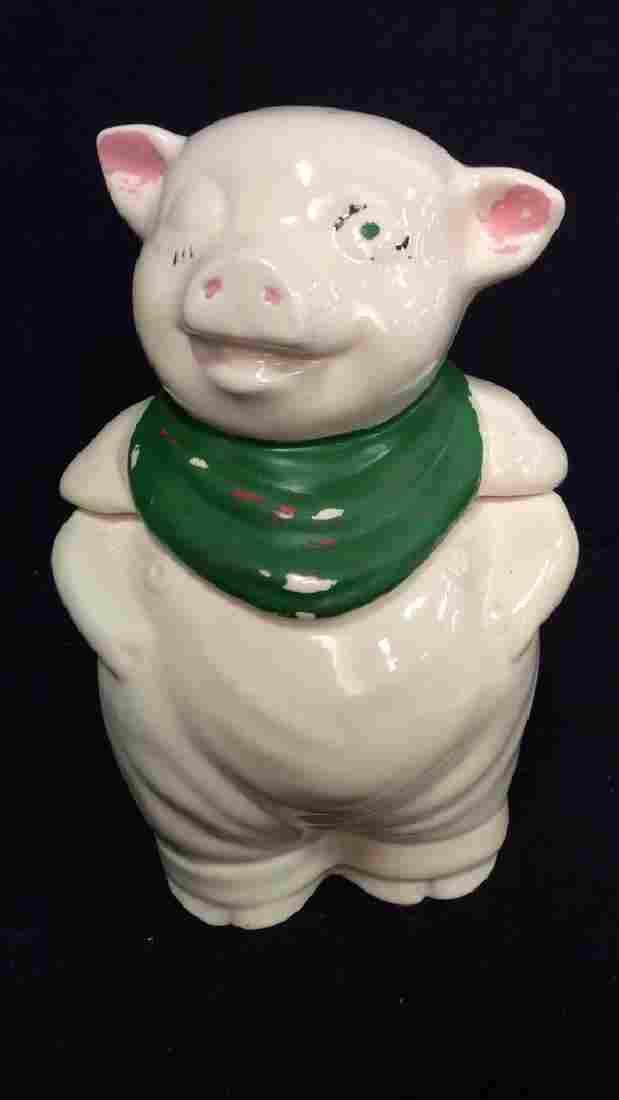 Vintage Ceramic Pig Statuette Cookie Jar