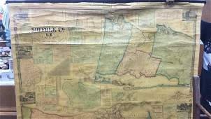 Vintage Paper W Canvas Map of Suffolk Co