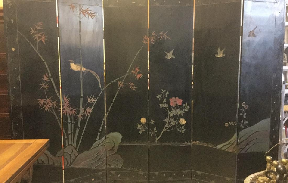 Antique Six Panel Lacquered Chinese Screen - 10
