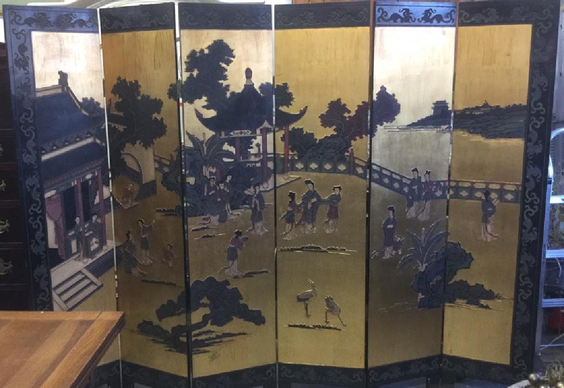 Antique Six Panel Lacquered Chinese Screen